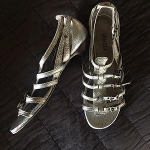 "VanEli silver ""distressed "" buckle sandals"
